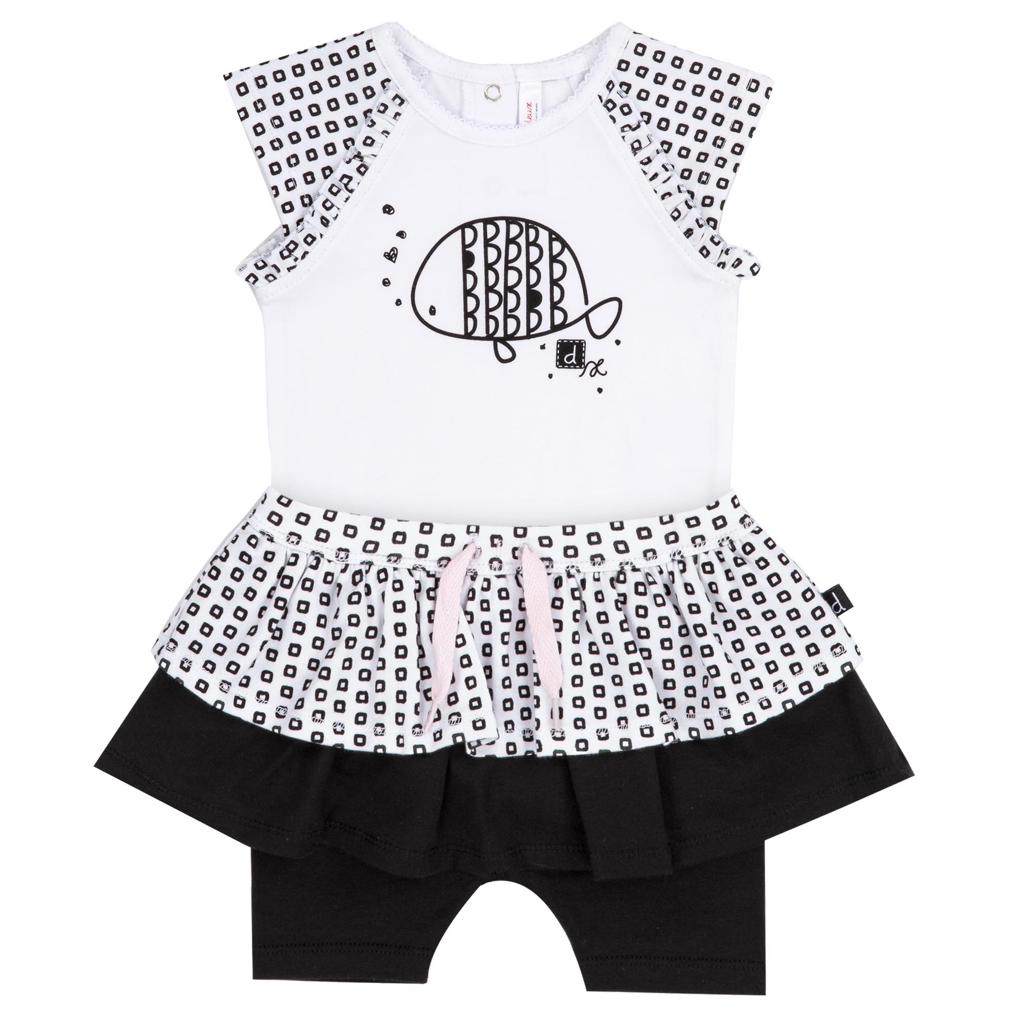 a48dcaf25 Body Suit Black & White with Fish Skort Set | BabyEnvy Boutique